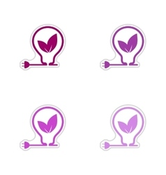 Set of paper stickers on white background eco vector
