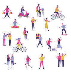Set of young people having fun outdoors vector