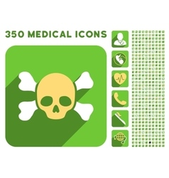 Skull and Bones Icon and Medical Longshadow Icon vector image