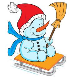 snowman on a sled vector image