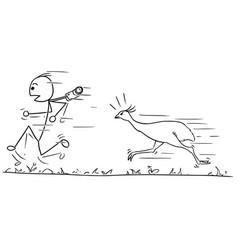 Stickman cartoon of men running away followed vector