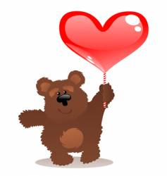 teddy bear and heart vector image