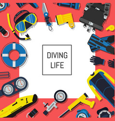 underwater diving equipment background with vector image