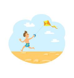 wind kite and small kid running on beach vector image