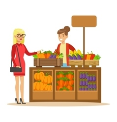 Woman Buying Fresh Vegetables From Farmer Working vector