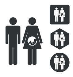 Young family icon set monochrome vector image