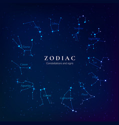 zodiac signs on starry sky twelve constellations vector image