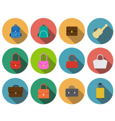 Set of bag icons in flat style vector