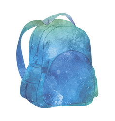 watercolor backpack on white vector image vector image