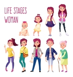 Woman set in different ages vector image
