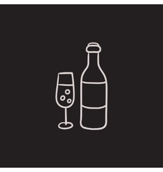 Bottle and glass of champagne sketch icon vector image