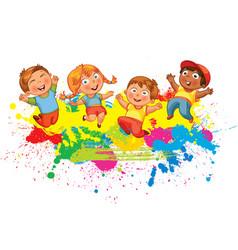 children jump for joy vector image