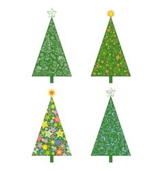 Christmas trees with patterns vector image vector image