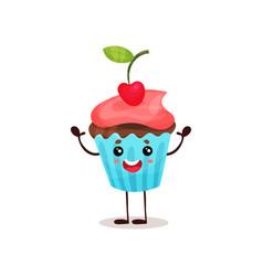 cute happy cupcake cartoon character vector image