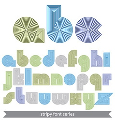 Extraordinary round striped font light lowercase vector image vector image