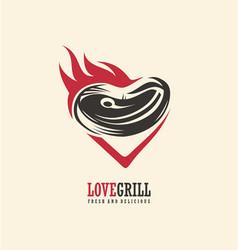 love grill logo design vector image vector image