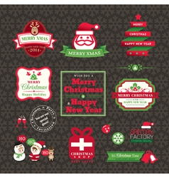 set of Christmas labels and frames design vector image