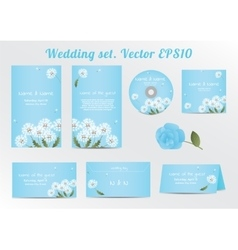 Set of floral wedding invitation template with vector image vector image