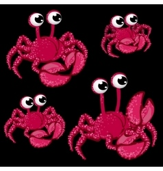 Set pink crabs with big eyes on black background vector image vector image