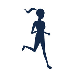 silhouette sport girl fitness running vector image vector image