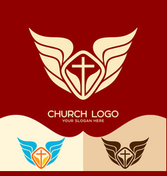 the cross of jesus and the wings of an angel vector image