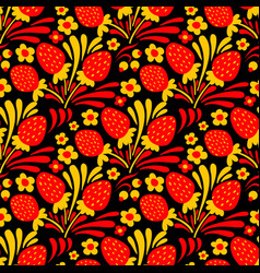 traditional russian hohloma style seamless pattern vector image