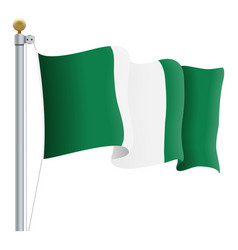 waving nigeria flag isolated on a white background vector image