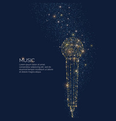 bright music poster with microphone of glitter vector image