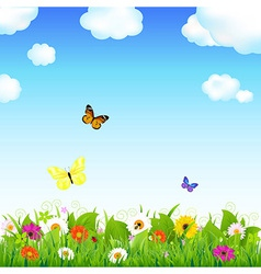 Flower Meadow With Butterflies vector image