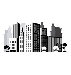 grayscale city with buils icon vector image