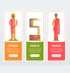 india banners set travel to india flat vector image vector image