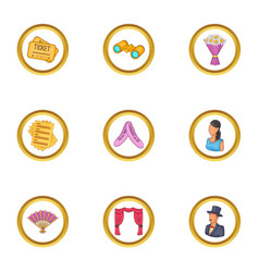 show icons set cartoon style vector image