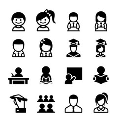 Student learning icon set vector