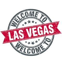 Welcome to las vegas red round vintage stamp vector