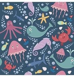 Cute underwater seamless pattern vector image vector image