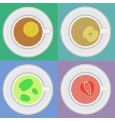 Set of tea cups with mint lemon apple vector image