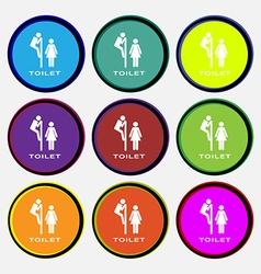 toilet icon sign Nine multi colored round buttons vector image vector image