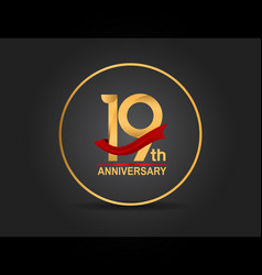 19 anniversary design golden color with ring vector