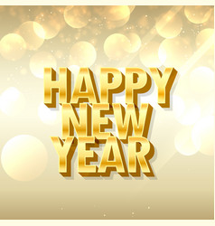 3d style happy new year lettering in golden style vector image