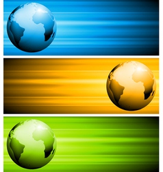 Abstract tech banners with globe vector image