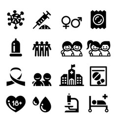 aids hiv icon set vector image