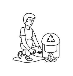 Avatar man and eco trash design vector