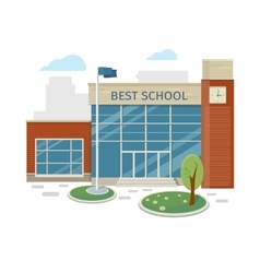 Best School Building in Flat Style Design vector