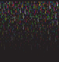 binary code colored and dark background with vector image