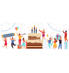 birthday cake concept happy party team greeting vector image