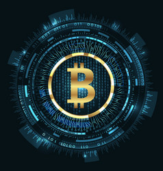 bitcoin with hud elements bit coin btc bit-coin vector image