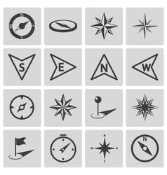Black compass icons set vector