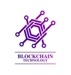 blockchain technology logo template concept vector image