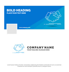 blue business logo template for handshake hand vector image