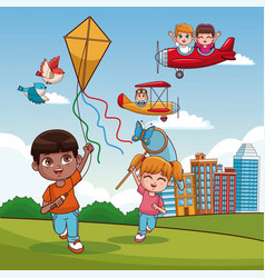 boy with kite cartoon vector image